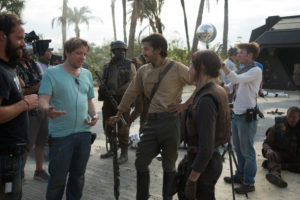 Rogue One: A Star Wars Story..Director Gareth Edwards on set with actors Diego Luna (Cassian Andor) and Felicity Jones (Jyn Erso)...Ph: Jonathan Olley..© 2016 Lucasfilm Ltd. All Rights Reserved.