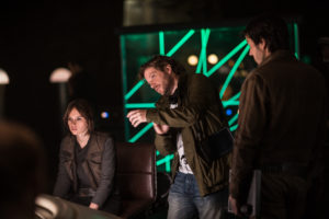 Rogue One: A Star Wars Story..L to R: Felicity Jones (Jyn Erso), Director Gareth Edwards and Diego Luna (Cassian Andor) Behind the Scenes on set during production. ..Ph: Jonathan Olley..© 2016 Lucasfilm Ltd. All Rights Reserved.